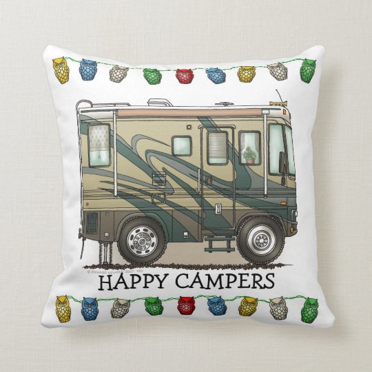 Cute Happy Camper Big RV Coach Motorhome Cushion