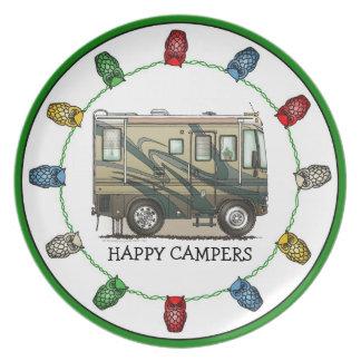 Cute Happy Camper Big RV Coach Motorhome Dinner Plate