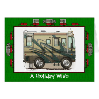 Cute Happy Camper Big RV Coach Motorhome Greeting Card