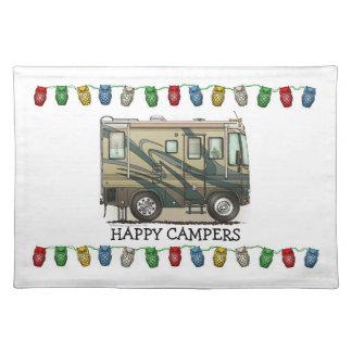 Cute Happy Camper Big RV Coach Motorhome Place Mat