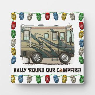 Cute Happy Camper Big RV Coach Motorhome Plaque