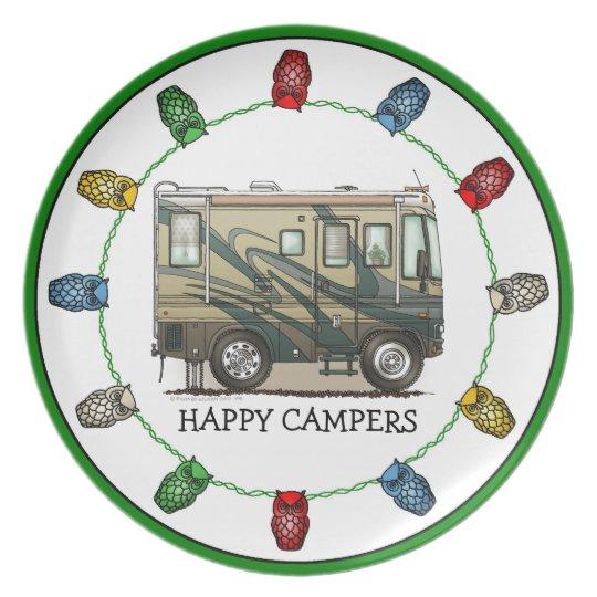 Cute Happy Camper Big RV Coach Motorhome Plate