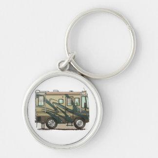 Cute Happy Camper Big RV Coach Motorhome Silver-Colored Round Key Ring