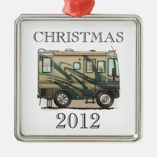 Cute Happy Camper Big RV Coach Motorhome Silver-Colored Square Decoration