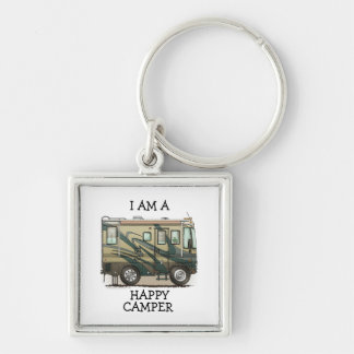 Cute Happy Camper Big RV Coach Motorhome Silver-Colored Square Key Ring