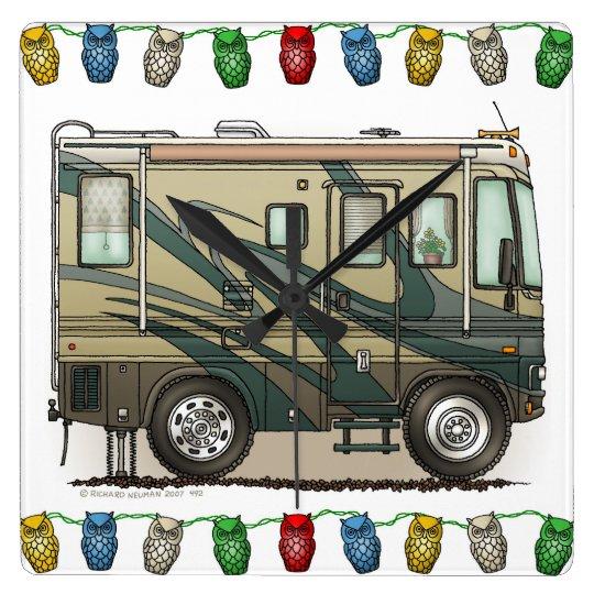 Cute Happy Camper Big RV Coach Motorhome Square