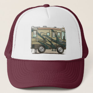 Cute Happy Camper Big RV Coach Motorhome Trucker Hat