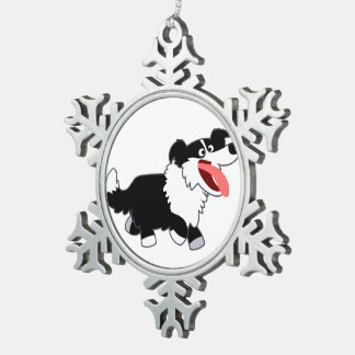 Cute Happy Cartoon Border Collie Pewter Ornament