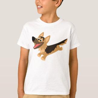 Cute Happy Cartoon German Shepherd Kids T-Shirt
