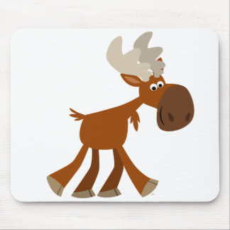 Cute Happy Cartoon Moose Mousepad