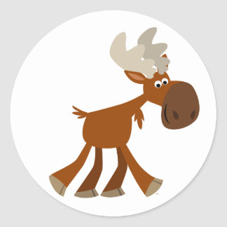 Cute Happy Cartoon Moose Sticker