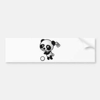 Cute Happy Cartoon Panda Bear Swinging Golf Club Bumper Sticker