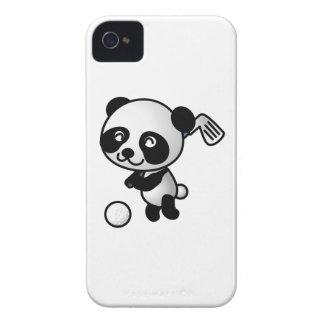 Cute Happy Cartoon Panda Bear Swinging Golf Club iPhone 4 Case-Mate Cases