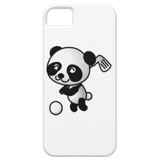 Cute Happy Cartoon Panda Bear Swinging Golf Club iPhone 5 Covers