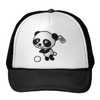 Cute Happy Cartoon Panda Bear Swinging Golf Club Mesh Hats