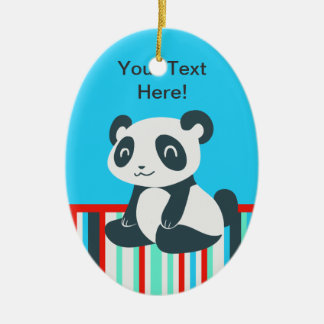 Cute Happy Cartoon Panda Ceramic Oval Decoration