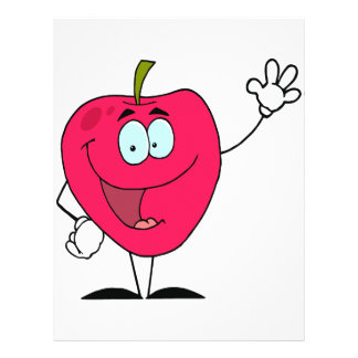 cute happy cartoon red apple character personalized flyer