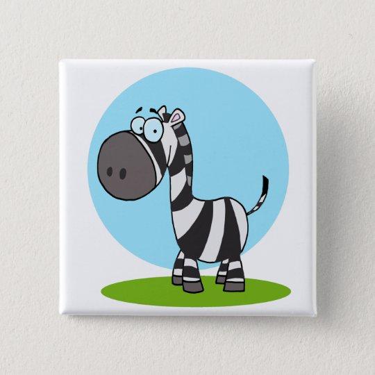 cute happy cartoon zebra 15 cm square badge