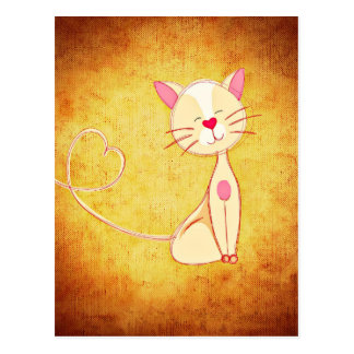 Cute happy Cat with a Heart Tail Postcard
