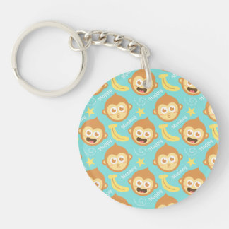 Cute, Happy, Cheeky Monkey Pattern with Bananas Double-Sided Round Acrylic Key Ring