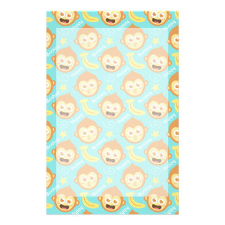 Cute, Happy, Cheeky Monkey Pattern with Bananas Stationery