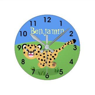 Cute happy cheetah running cartoon illustration round clock