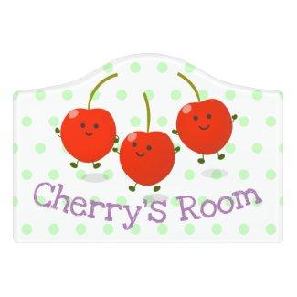 Cute happy cherries cartoon illustration door sign