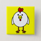 Cute Happy Chicken 15 Cm Square Badge