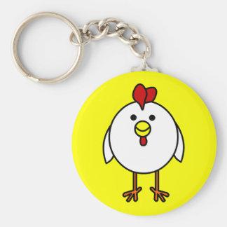 Cute Happy Chicken Basic Round Button Key Ring