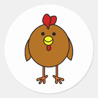 Cute Happy Chicken - Brown Classic Round Sticker