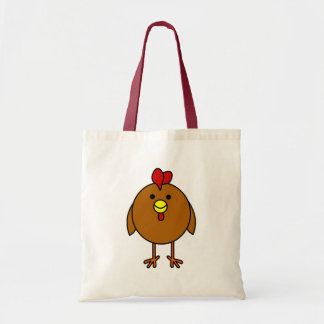 Cute Happy Chicken - Brown Tote Bag