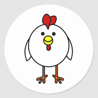 Cute Happy Chicken Classic Round Sticker