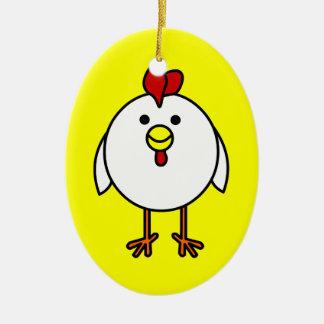 Cute Happy Chicken Customizable! Ceramic Oval Decoration