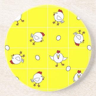 Cute Happy Chicken Dance Yellow Coaster