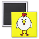 Cute Happy Chicken Square Magnet