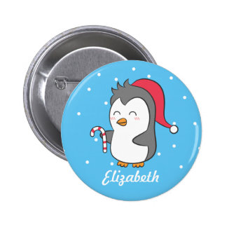 Cute Happy Christmas Penguin Candy Cane For Kids 6 Cm Round Badge