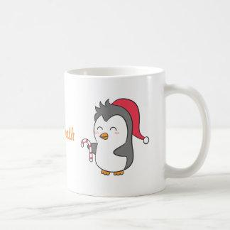 Cute Happy Christmas Penguin Candy Cane For Kids Basic White Mug