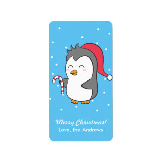 Cute Happy Christmas Penguin Candy Cane Greeting Address Label