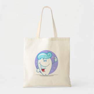 cute happy clean sparkling tooth cartoon character tote bag