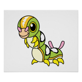 Cute Happy Colorful Caterpillar Poster