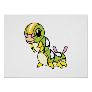 Cute Happy Colorful Caterpillar Posters