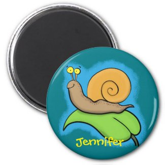 Cute happy, colourful snail on a leaf magnet