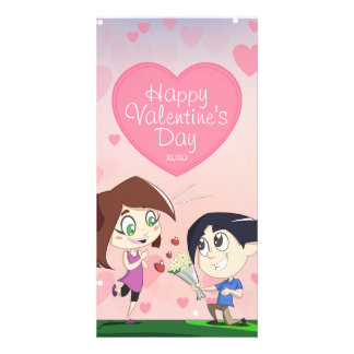 Cute Happy Couple Pink Valentine's Day Card Customized Photo Card
