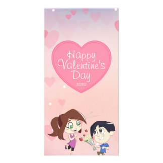 Cute Happy Couple Pink Valentine's Day Card Photo Card