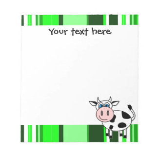 Cute Happy Cow Notepade - Green Stripe Notepad