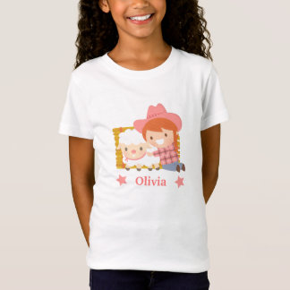 Cute Happy Cowgirl with Lamb For Girls T-Shirt