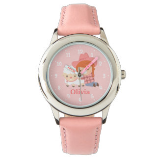 Cute Happy Cowgirl with Lamb For Girls Watches