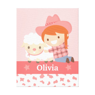 Cute Happy Cowgirl with Lamb Girls Room Decor Canvas Print