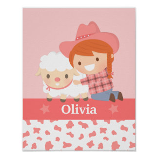 Cute Happy Cowgirl with Lamb Girls Room Decor Poster