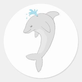 Cute Happy Dolphin Round Sticker